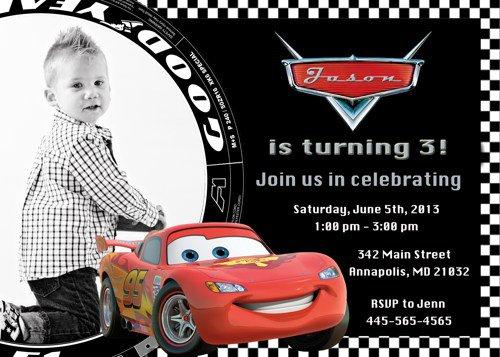 Printable Cars Birthday Invitation Cards