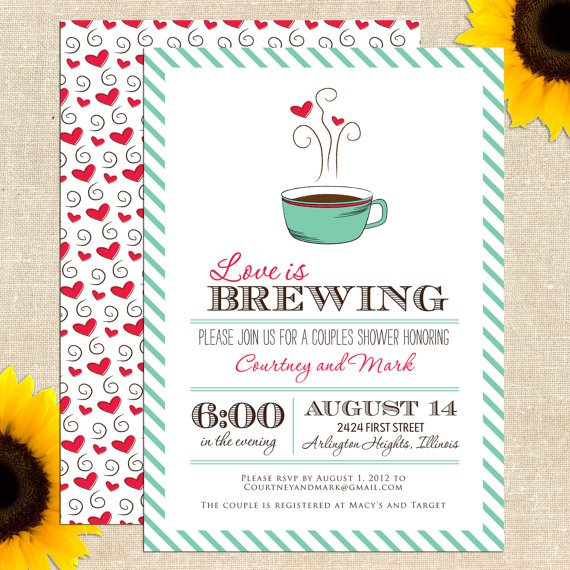 printable couples bridal shower invitations