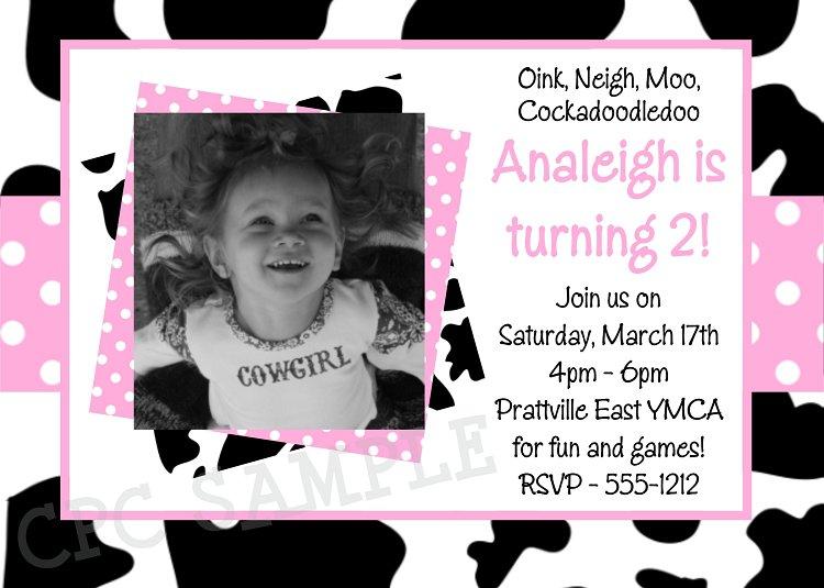 Printable Cow Birthday Invitations