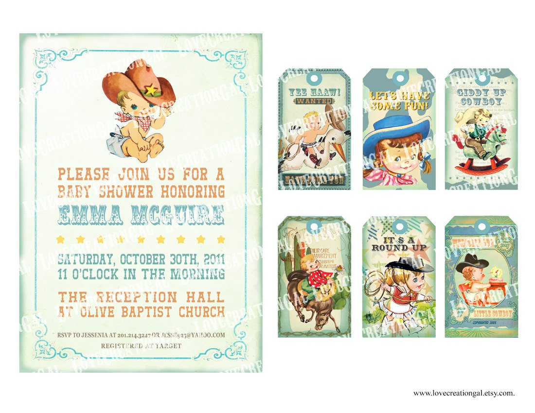 Printable Cowboy Baby Shower Invitations