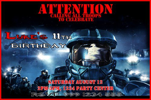 Printable Halo Birthday Party Invitations