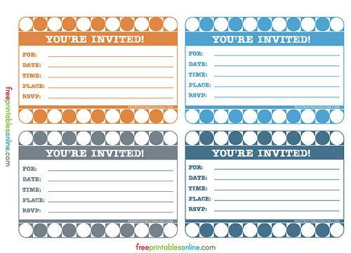 Printable Invitation Cards Free