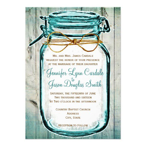 Printable Mason Jar Wedding Invitations