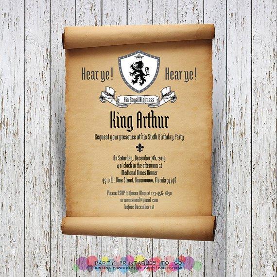 Printable Medieval Invitations
