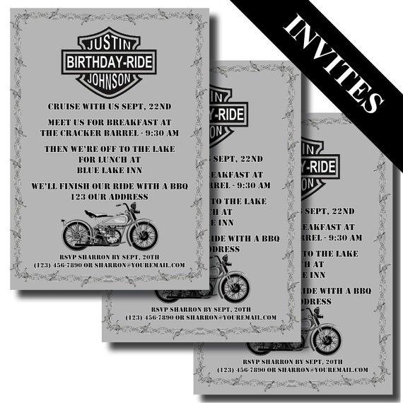 Printable Motorcycle Invitations