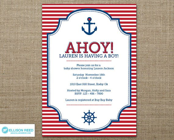 Printable Nautical Baby Shower Invitations Templates