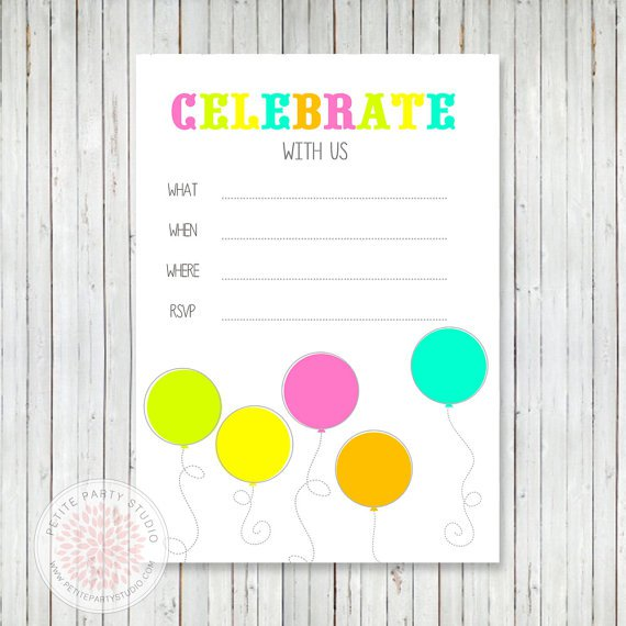 Printable Neon Birthday Invitations