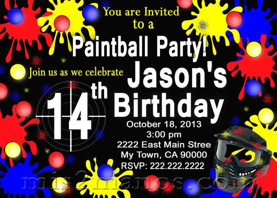 Printable Paintball Birthday Invitations