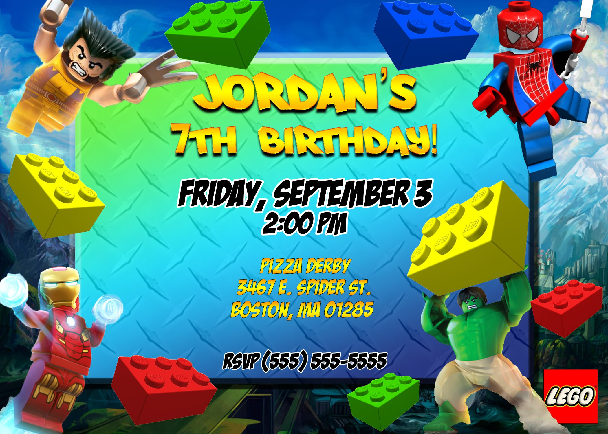 Party Invitations Lego Superheroes