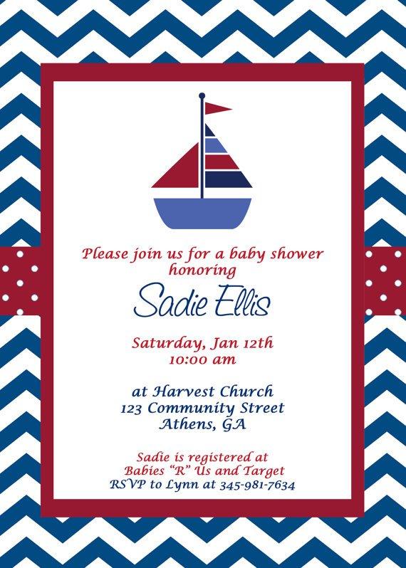 Printable Sailboat Baby Shower Invitations