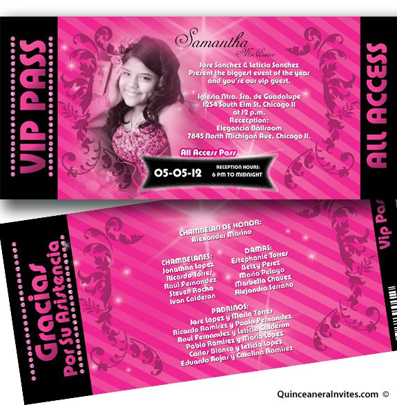 Printable Spanish Quinceanera Invitations