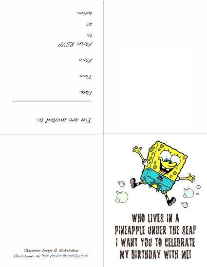 Printable Spongebob Invitations