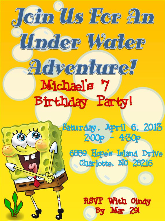 Printable Spongebob Squarepants Invitations
