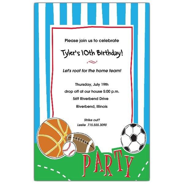 Printable Sports Birthday Invitations Blank