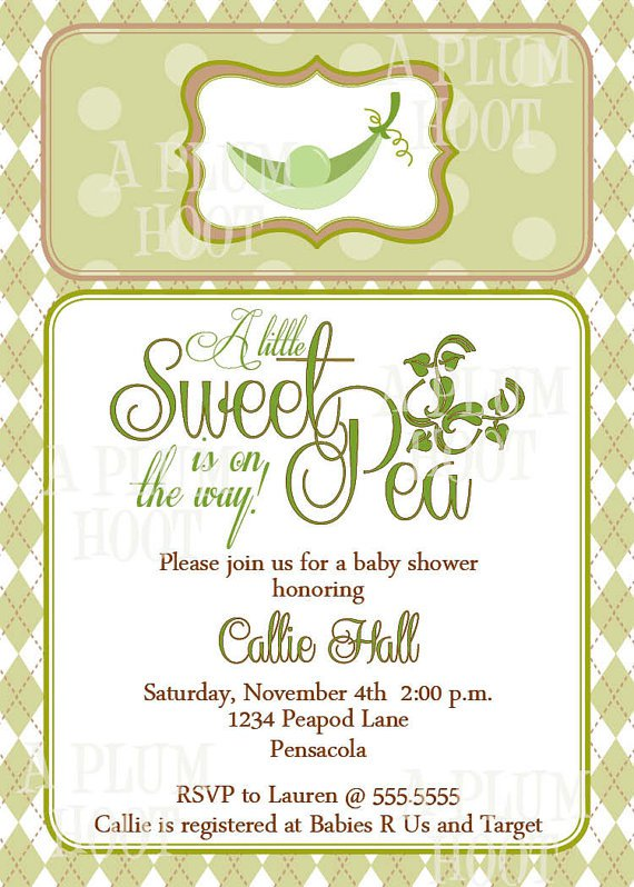 Printable Sweet Pea Baby Shower Invitations