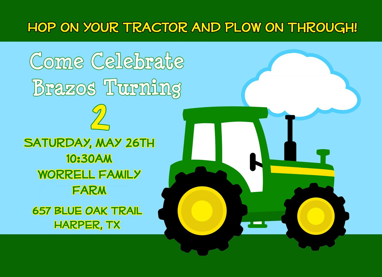 Printable Tractor Birthday Invitations