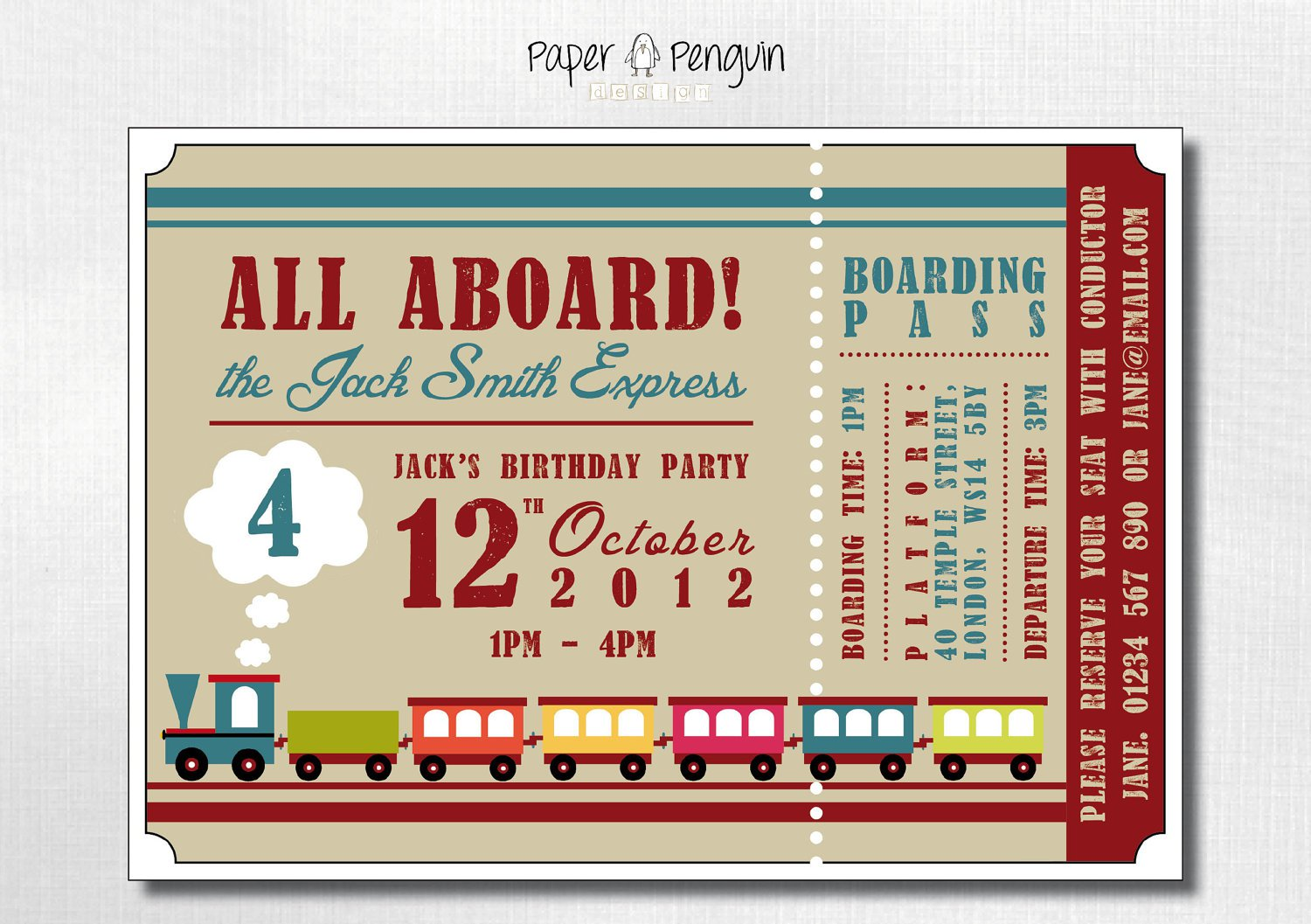 Train Party Invitations For Boys