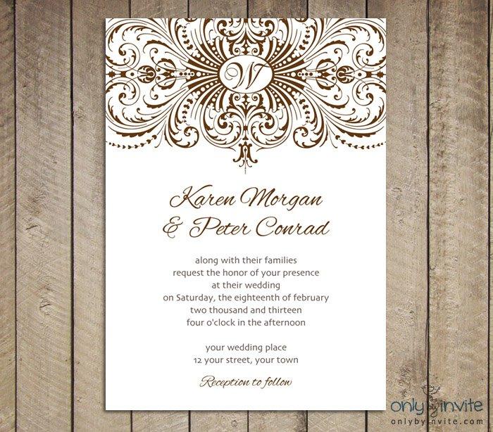 Printable Vintage Wedding Invitation Templates