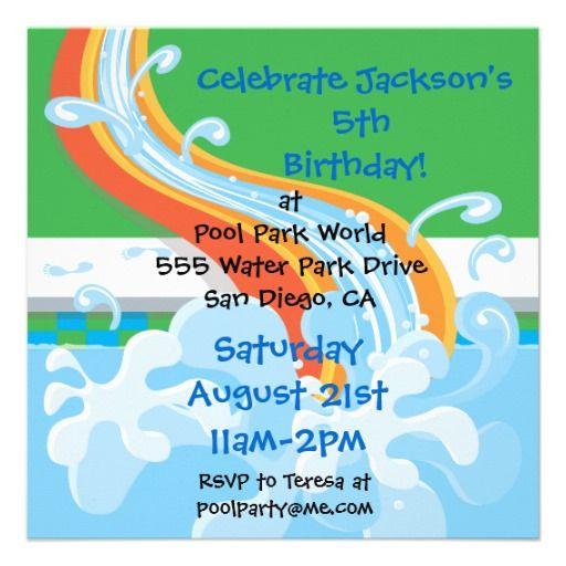 Printable Water Park Birthday Invitations