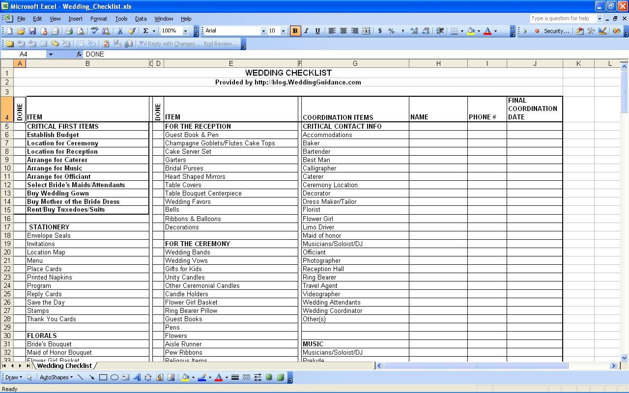 Printable Wedding Planning Worksheets