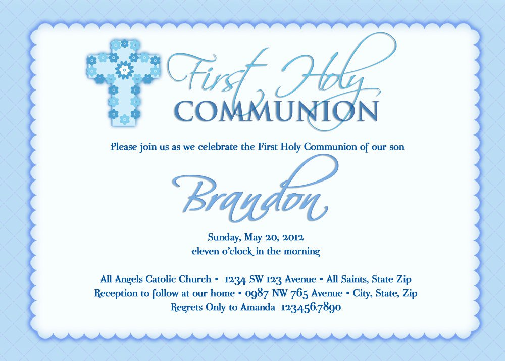 Printables For Boys Holy Communion Invitations