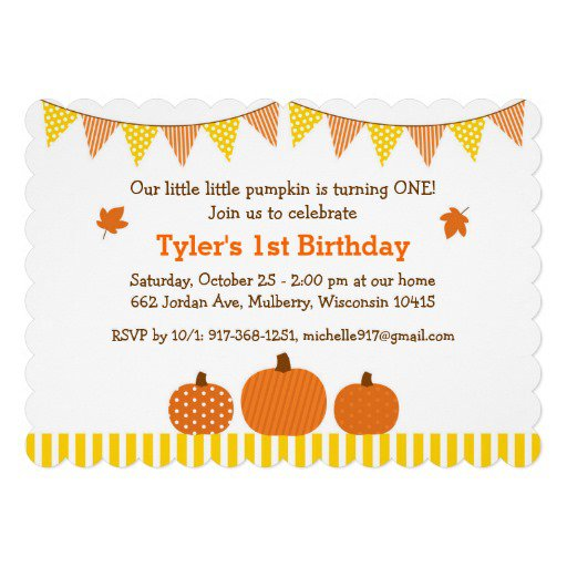 Pumpkin First Birthday Invitations