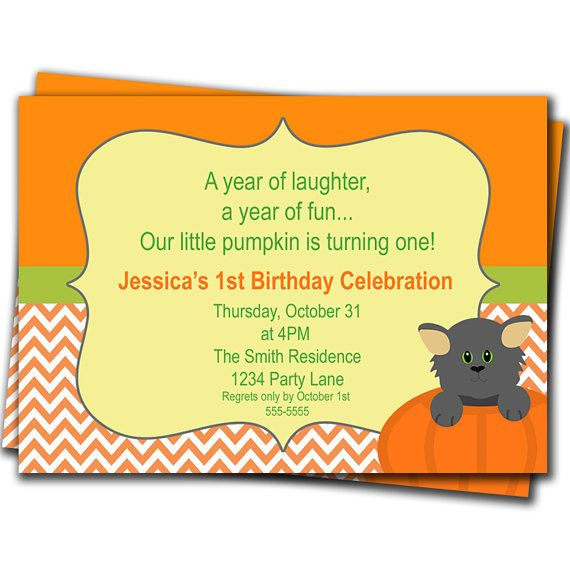 Pumpkin Orange Chevron Invitations Girl