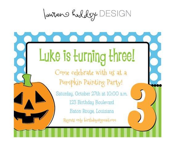 Pumpkin Painting Party Invitation Wording