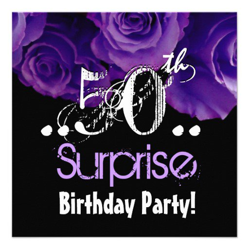 Purple 50th Birthday Invitations