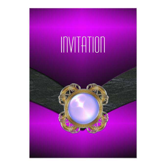 Purple And Gold Birthday Invitations