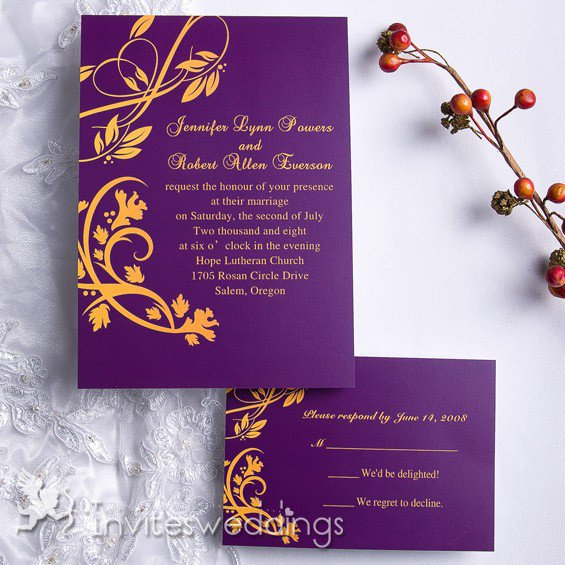 Purple And Gold Scroll Wedding Invitations