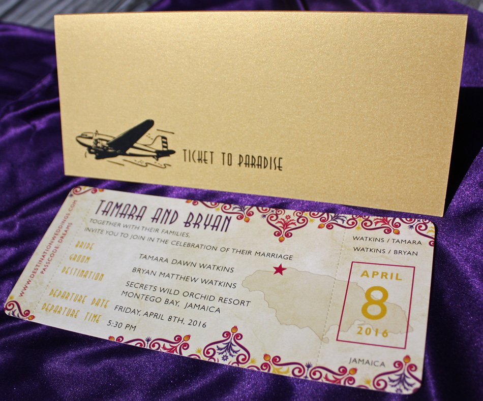 Purple And Gold Wedding Invitations