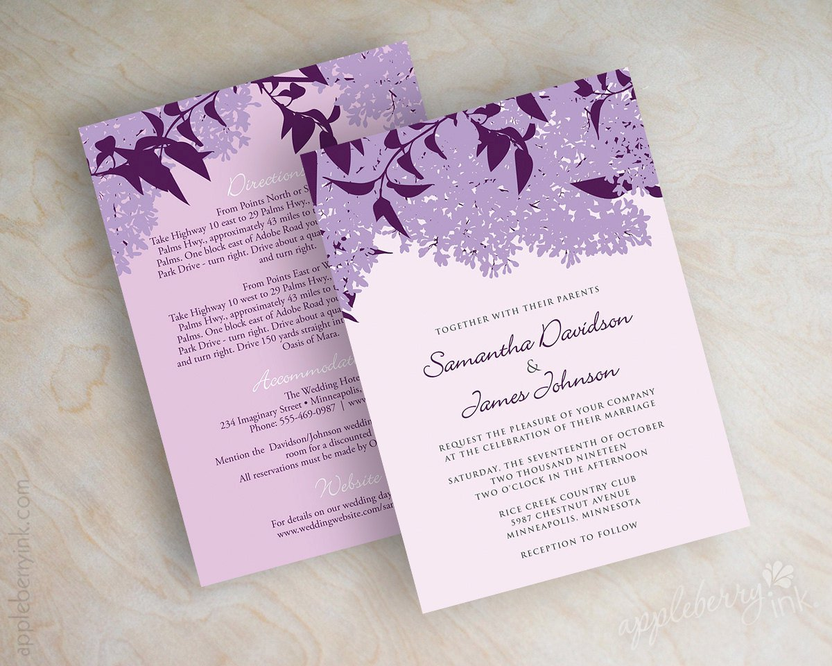 Purple And Lilac Wedding Invitation Cards