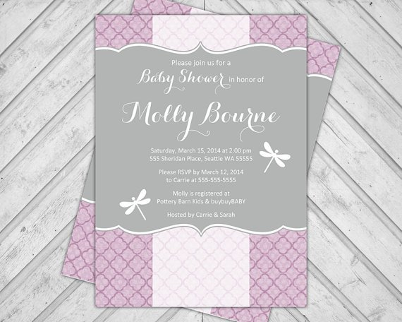 Purple And Lime Green Baby Shower Invitations