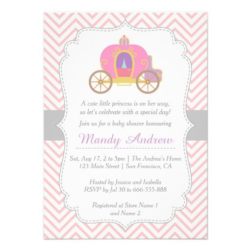 Purple And Pink Princess Baby Shower Invitations