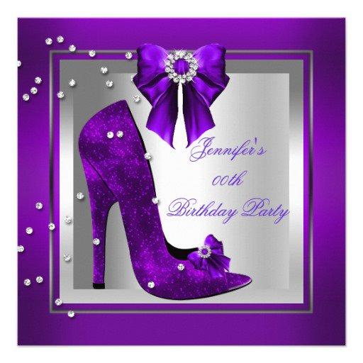 Purple And Silver 60th Birthday Invitations