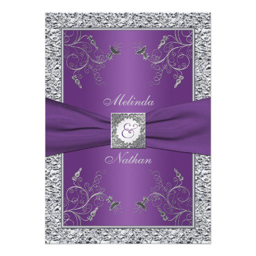 Purple And Silver Wedding Bow Invitations