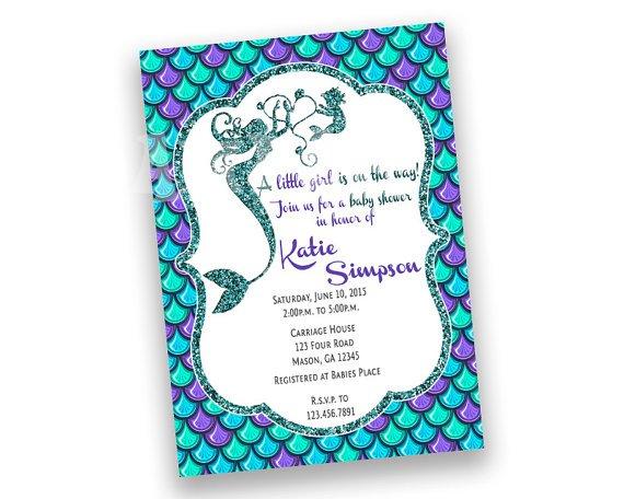 Purple Baby Shower Invitations Etsy