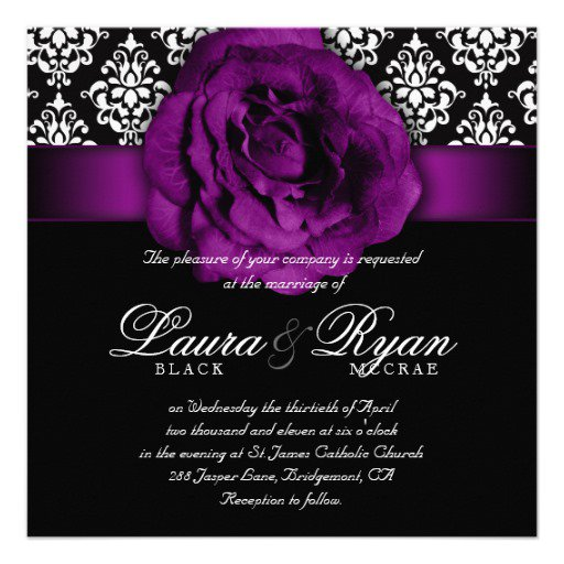 Purple Black And White Wedding Invitations