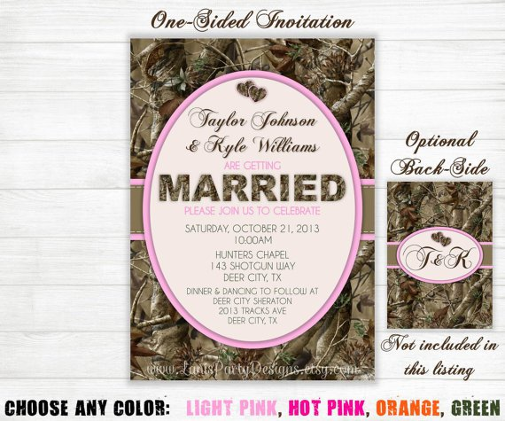 Purple Camo Wedding Invitations