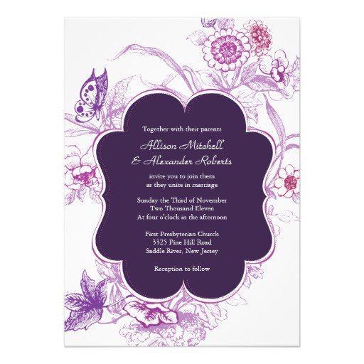 Purple Fall Wedding Invitations