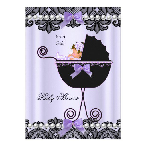 Purple Green Baby Shower Invitations