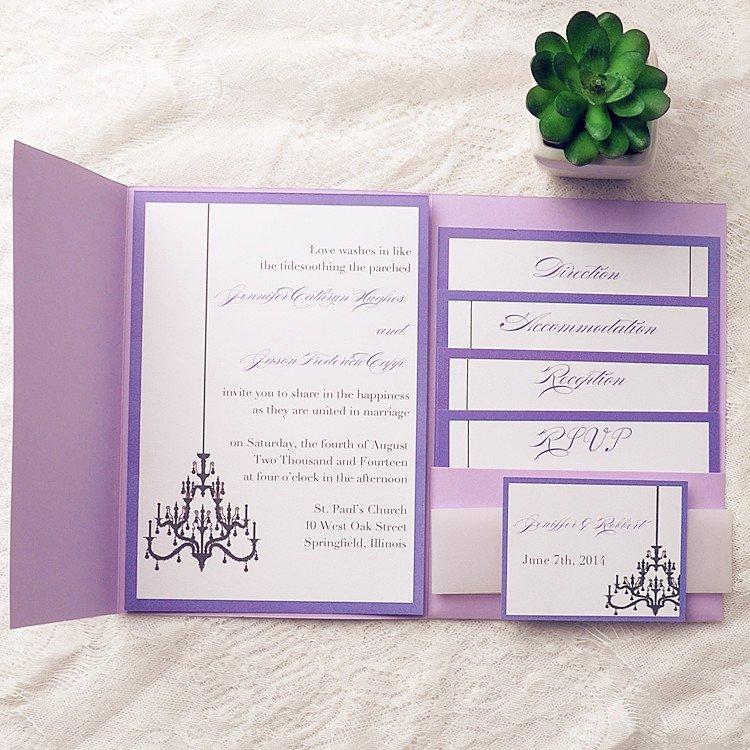 Purple Pocket Wedding Invitation Kits