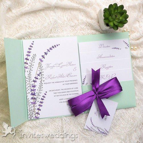 Purple Pocket Wedding Invitations