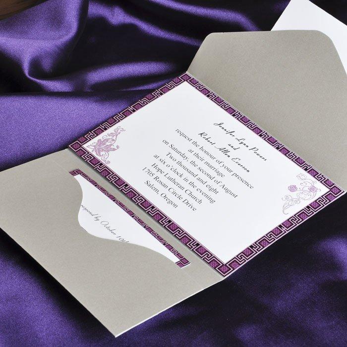 Purple Pocket Wedding Invitations Cheap