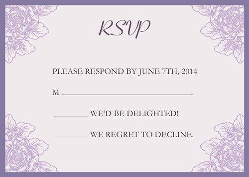 Purple Pocket Wedding Invitations Kits