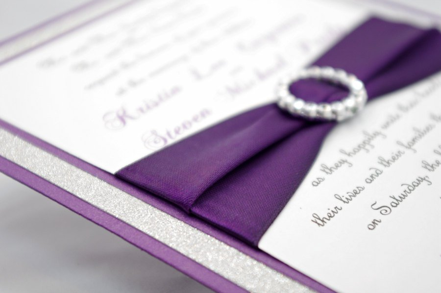 Purple Wedding Invitations With Bling