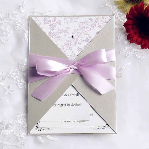 Purple Wedding Invitations With Ribbon