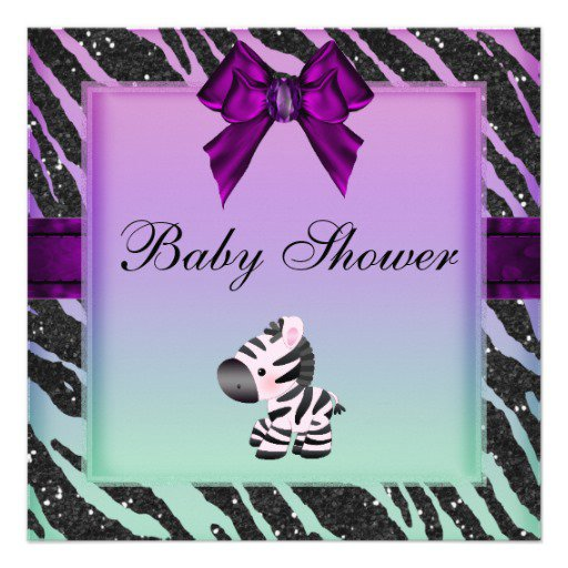 Purple Zebra Print Baby Shower Invitations