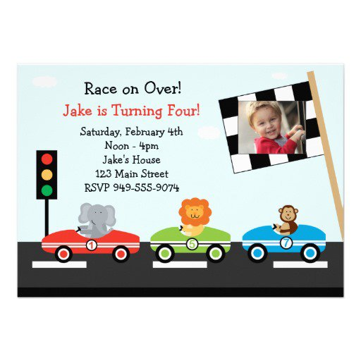 Race Car Birthday Invitations With Photo